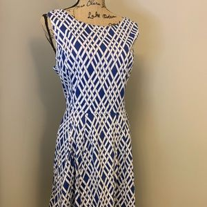 Lands End Blue and White Patterned Dress